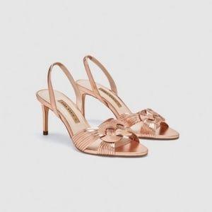 Zara braided gold heels